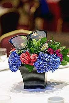 Flower Arrangement with oversize costume glasses